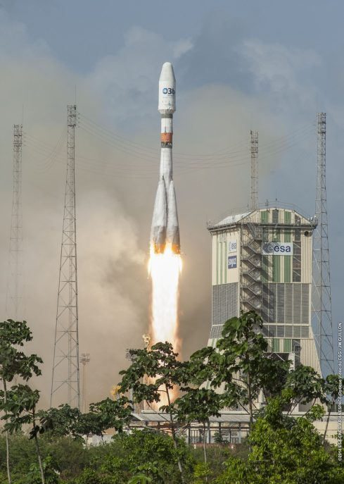 O3b Satellite being launched into orbit from Kourou, French Guiana in South America, June 25, 2013 (photo courtesy O3b)