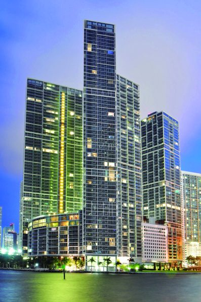 A prominent feature of Miami's skyline, the Icon-Brickell condominium complex is skinned with Tecnoglass panels.