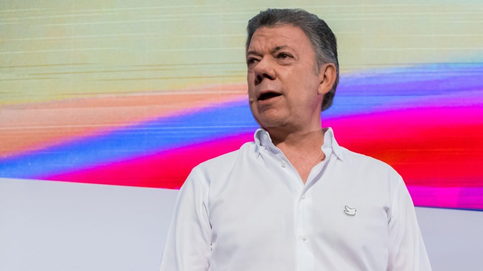 Juan Manuel Santos speaks at Andicom 2017 in Cartagena. (Credit: Jared Wade)