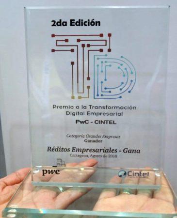 Réditos Empresariales took home the Digital Transformation Award at Andicom 2018 in the large company category. (Photo credit: Grupo Réditos)