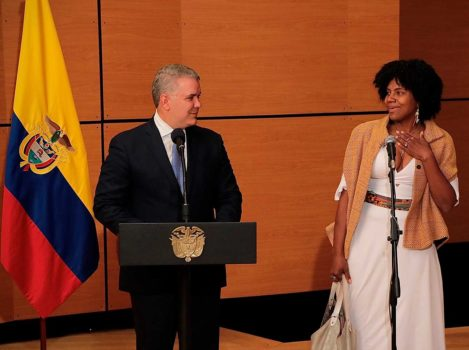 Colombia's President Ivan Duque (l) with Dr Mabel Torres, the new Minister of Science, Technology & Innovation