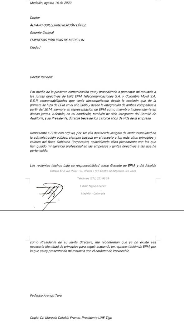 Alvaro Rendon renunciation letter from Tigo Une biard