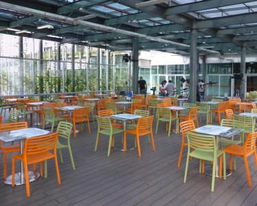 The Roof of Ruta N's LEED Gold Certified building serves as an al fresco dining area for tenants and employees.