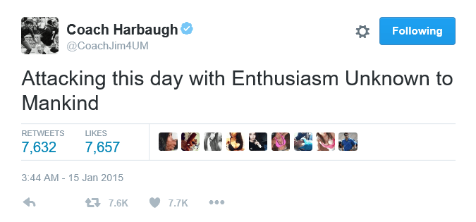 Harbaugh Tweet