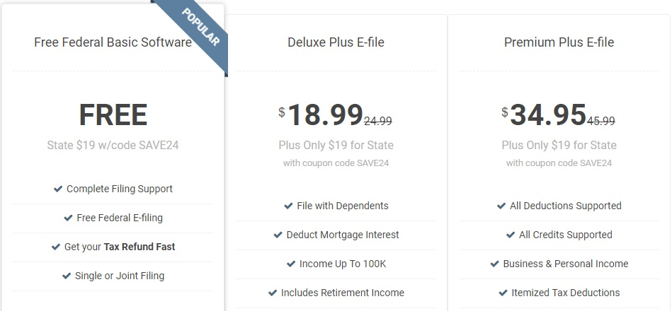 E-file.com Tax Return Filing Options and Pricing