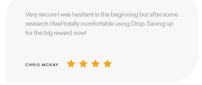 This four star rating of the Drop app states the app is very secure.