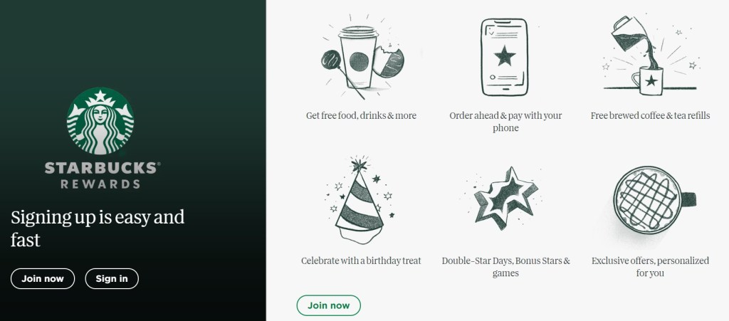The Starbucks Rewards program makes it easy to get free Starbucks coffee, get free refills, and much more
