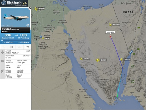 Russian Airbus A321-200 Flight 7K9268 Crash - FlightRadar24 Map