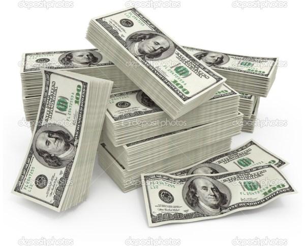 Big sum of money dollars - 3d illustration