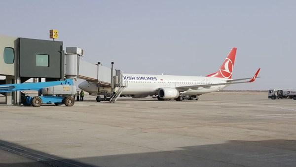Premier vol international en provenance d'Istanbul (Source source page facebook de Aéroport International Nouakchott - Oumtounsy)