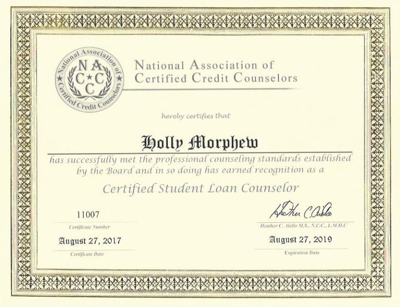 Holly Morphew Certified Student Loan Counselor Financial