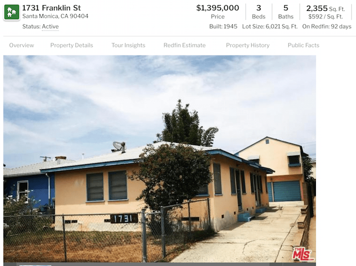 Santa Monica house for $1.4 Million is very average looking