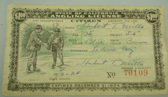 1924 California Fishing Liscense