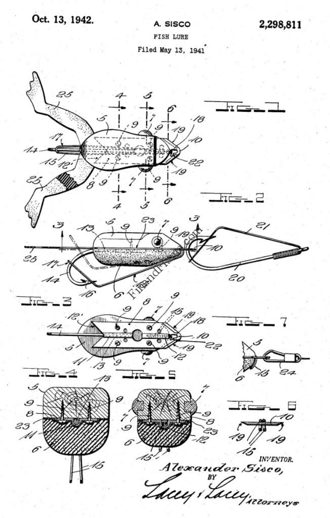 Shurebite Frog Antique Lure Patent