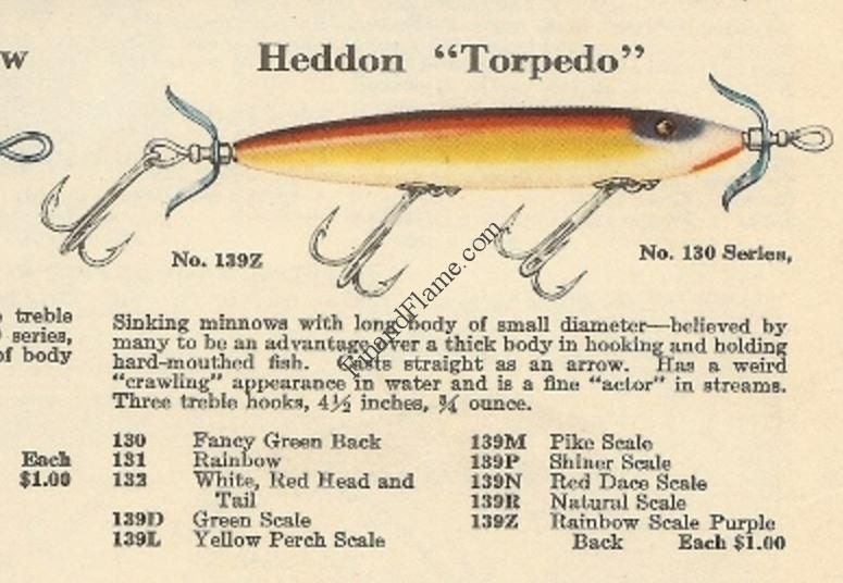 Heddon torpedo antique lure fin and flame for Torpedo fishing lure