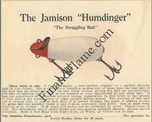 Jamison Humdinger Lure 1916 Catalog Page
