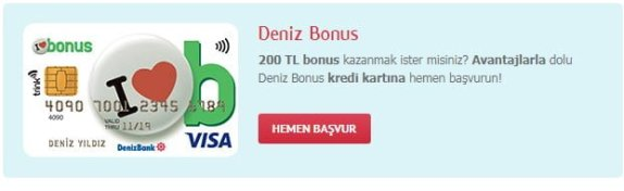 Denizbank Bonus Kredi Karti Basvurusu