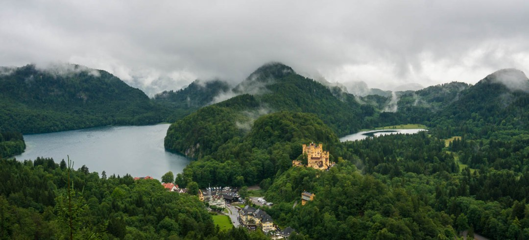Fog, lakes, and castles in Bavaria Germany.