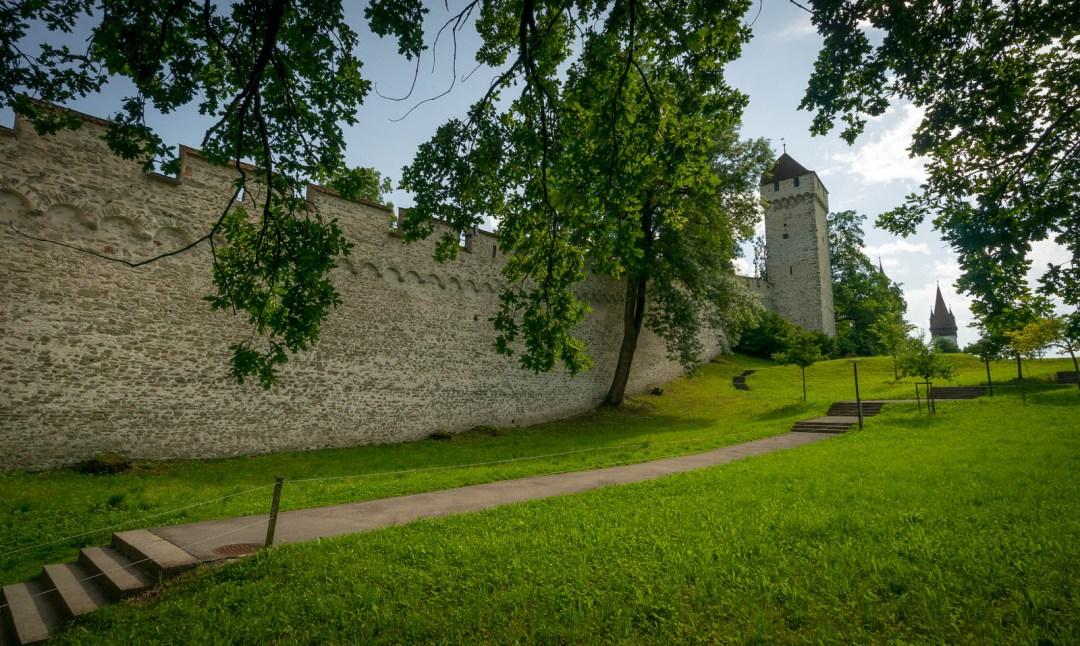 Old city walls Musseggmauer in Lucerne Switzerland.