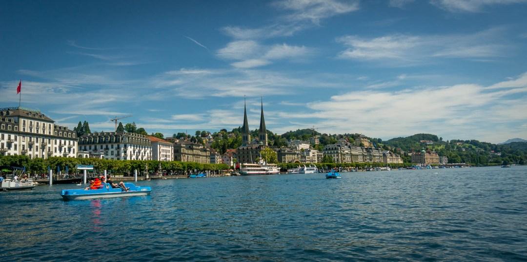 Paddle boating on Lake Lucerne.