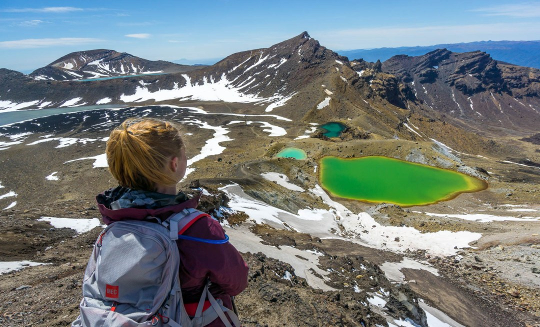 Hilary lookding down on coloured lakes.