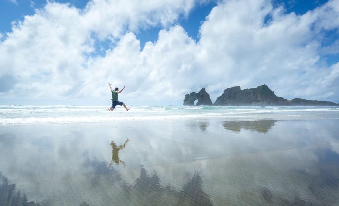 POW: Jumping at Wharariki Beach