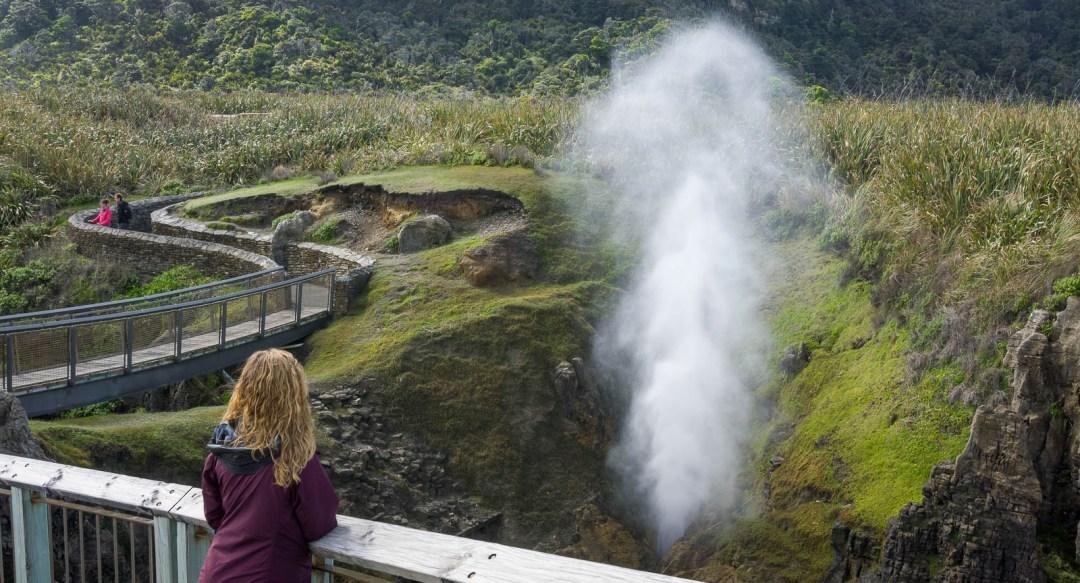 Hilary watching blow hole erupt New Zealand
