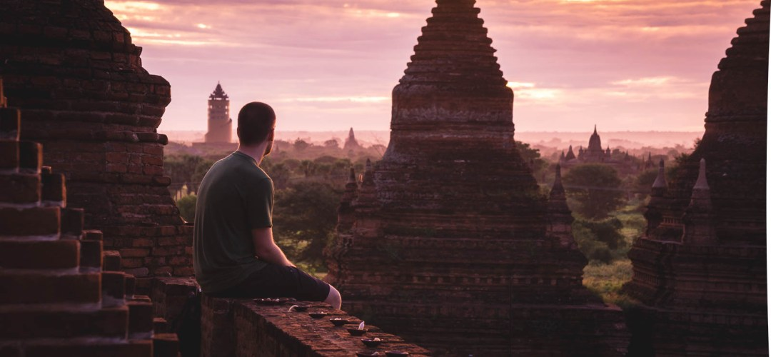Ben overlooking temples in Bagan from Bulethi
