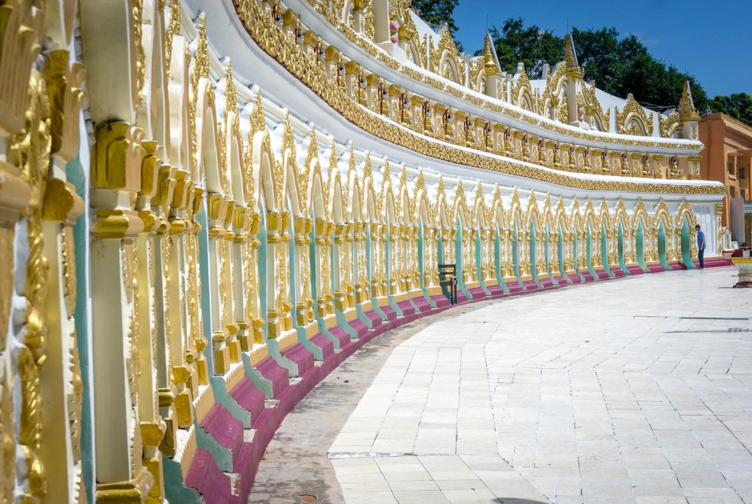 Crescent of Buddha faces in Sagaing