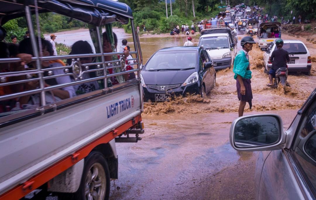 Flooded river crossing in Myanmar