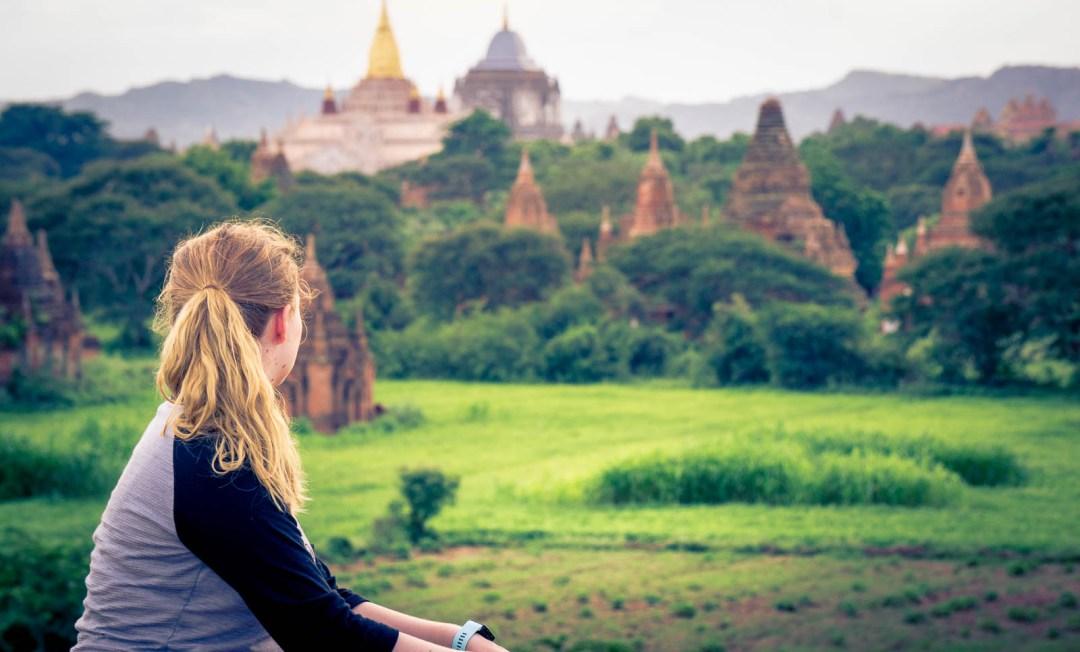Hilary taking in view from Oak Kyaung Gyi