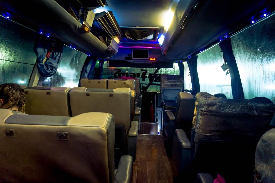 Interior of an overnight bus in Myanmar