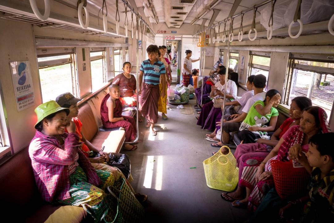 Interior of the Yangon Circular Train in Myanmar