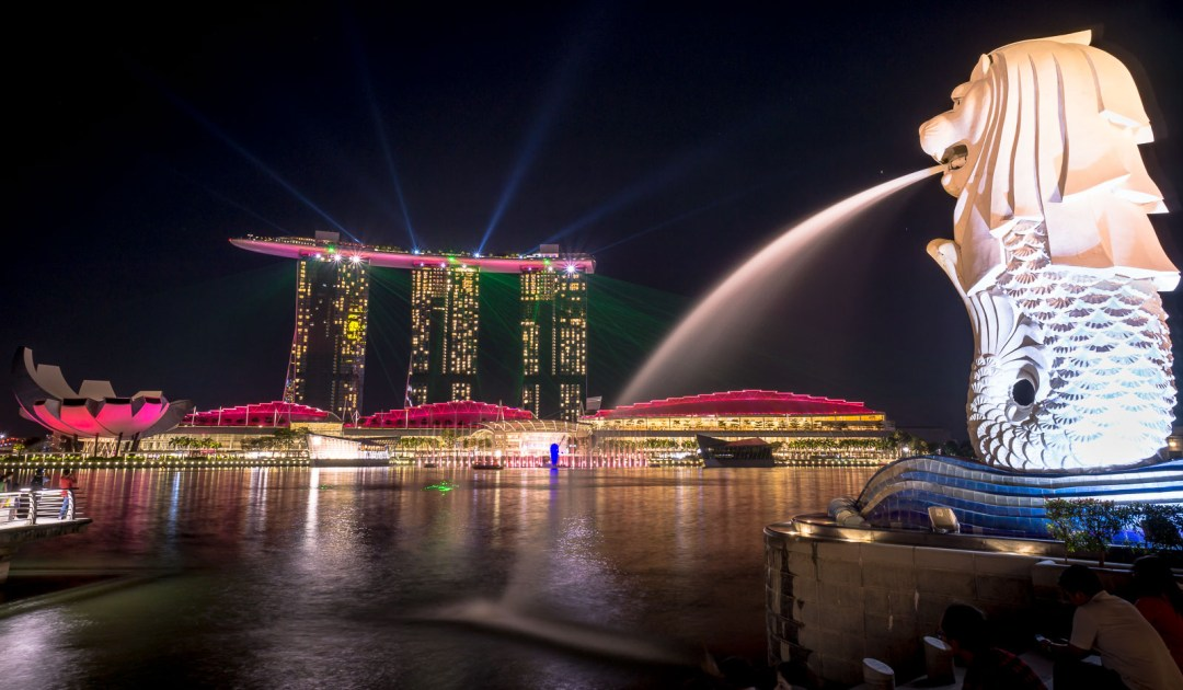Light Show on top of Bay Sands Hotel