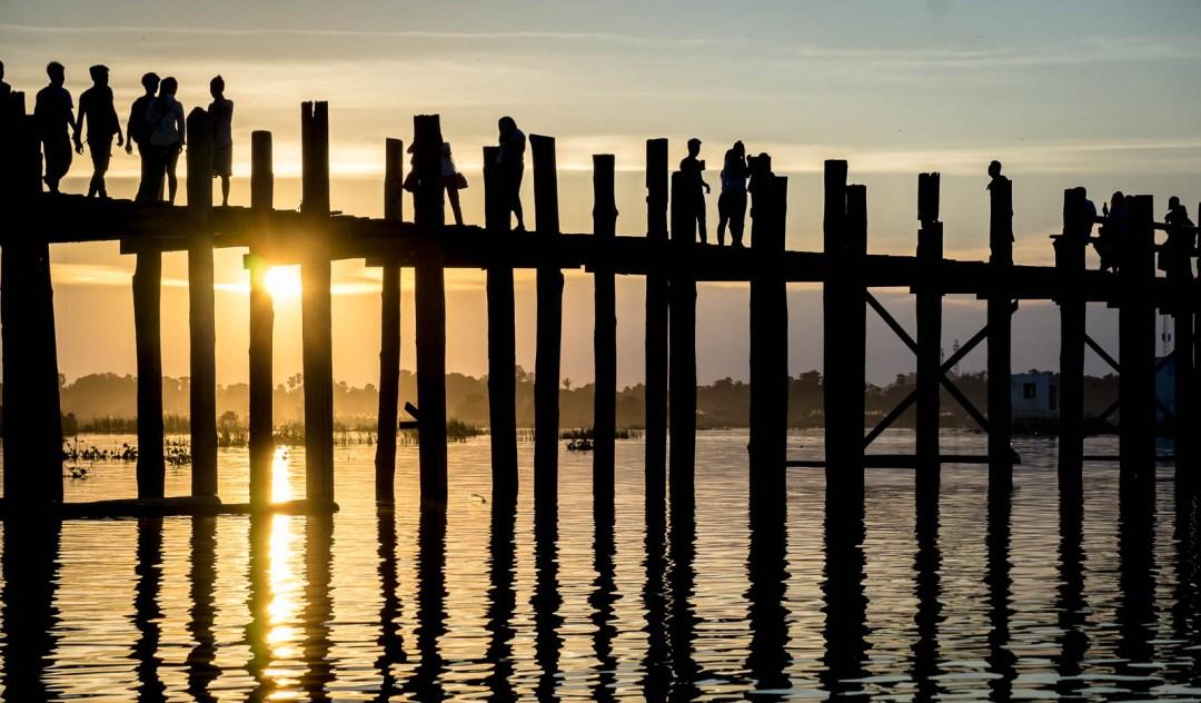 Sun setting behind U bien bridge