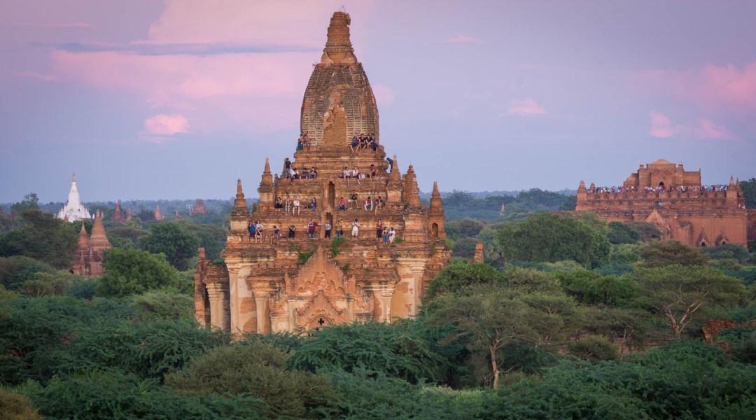 Tourists watching sunset in Bagan