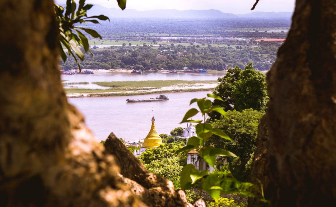 View from the hill of Sagaing overlooking the Irrawaddy river