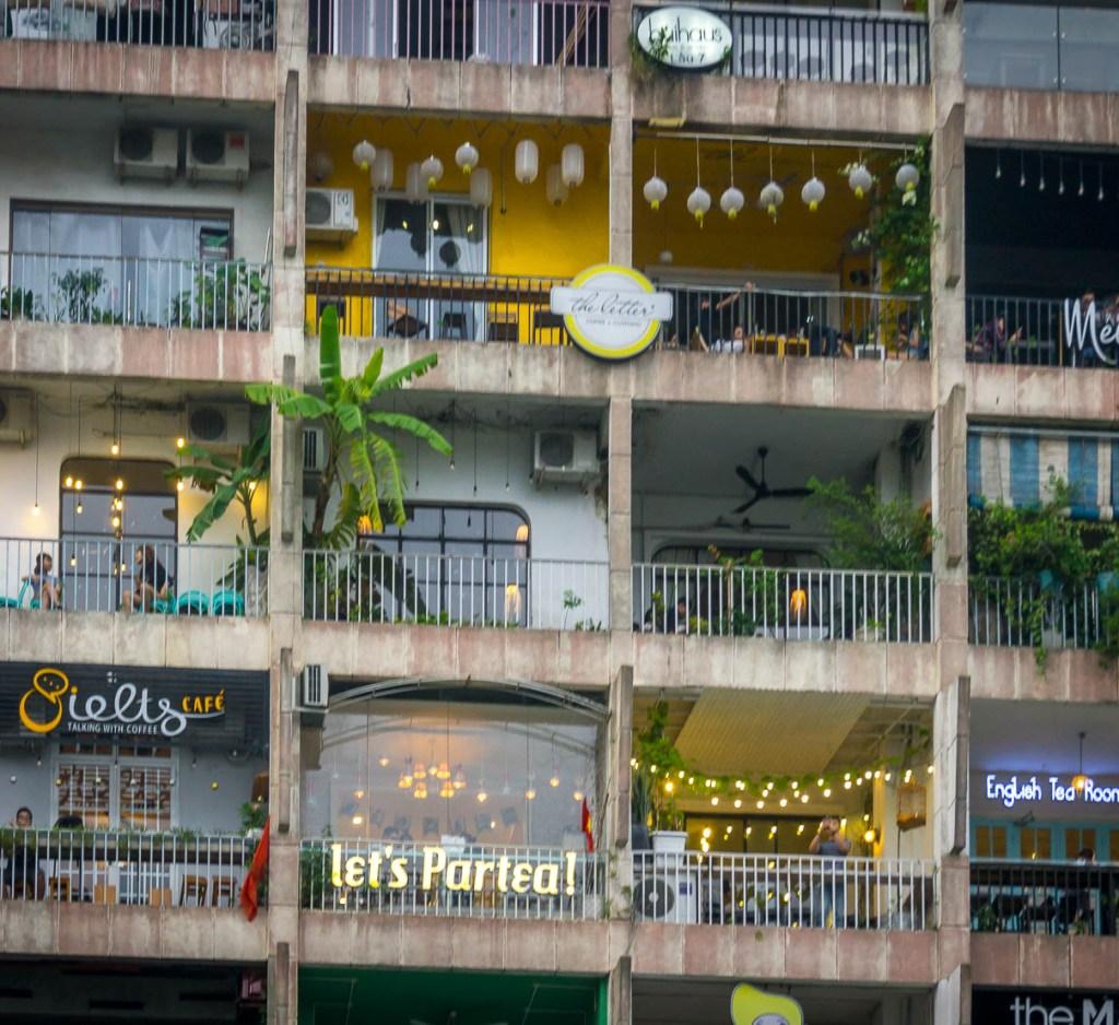 Apartment building with tea shops