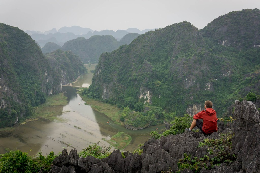 Ben lookiing over viewpoint at Hang Mua