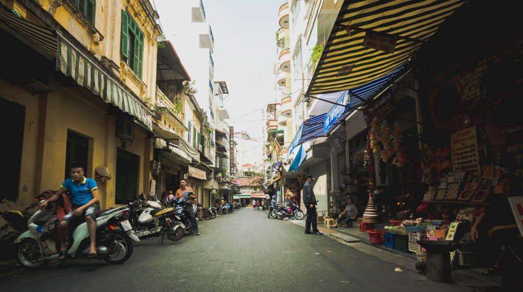 Busy streets in Old Quarter of Hanoi