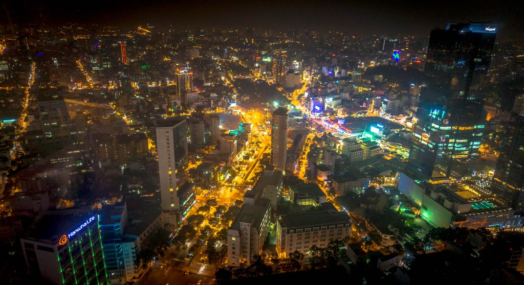 Ho Chi Minh City from above at night