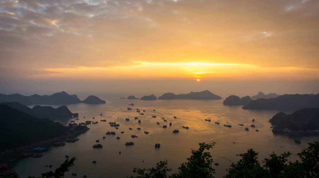 Sunset at Cannon fort hill in Cat Ba