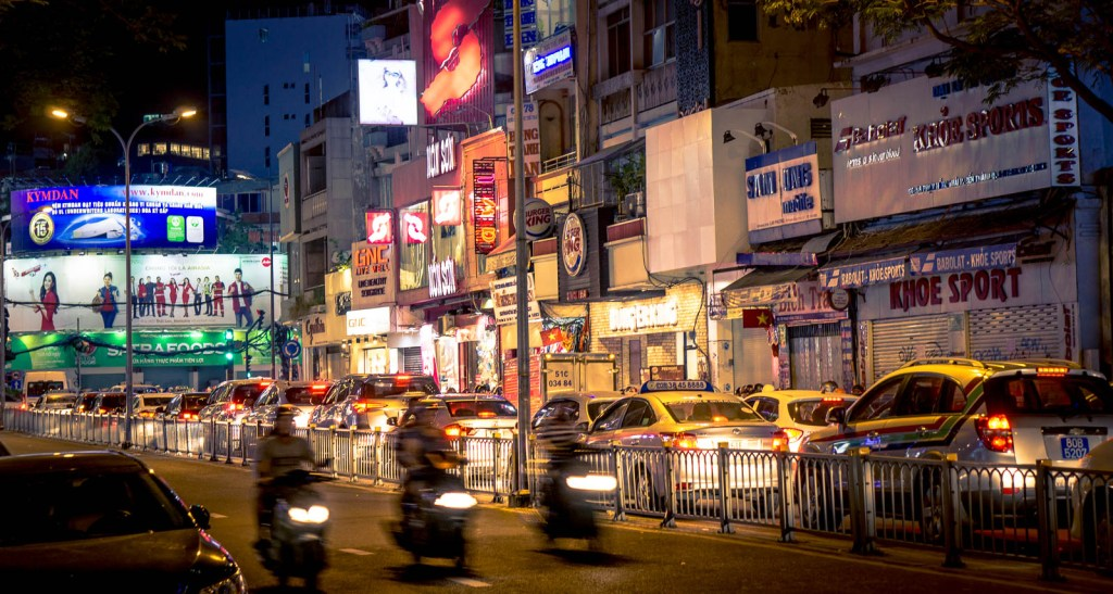 Traffic and lights in Ho Chi Minh City
