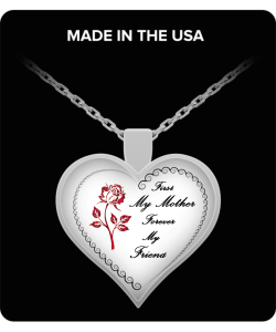 Heart Pendant Necklace-red rose
