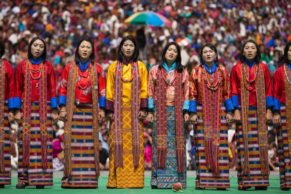 Thimphu Tshechu Girls Dancing