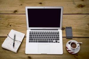 laptop, workspace, desk