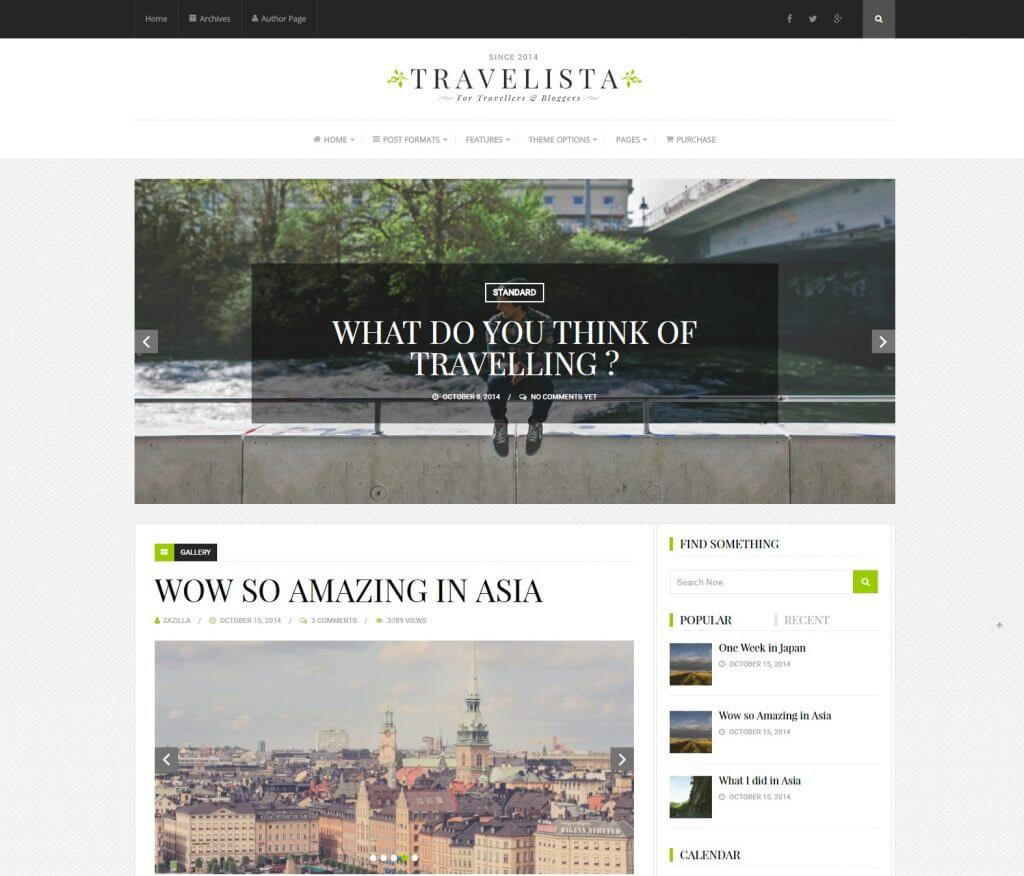 Travelista WordPress theme