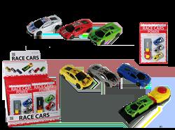 3 racerbiler med affyringsrampe
