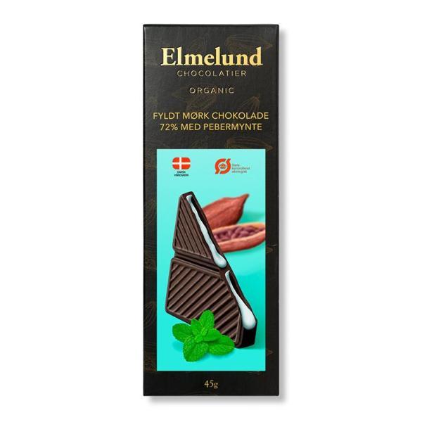 Chokoladeplade, mørk chokolade med flydende pebermynte (økologisk)