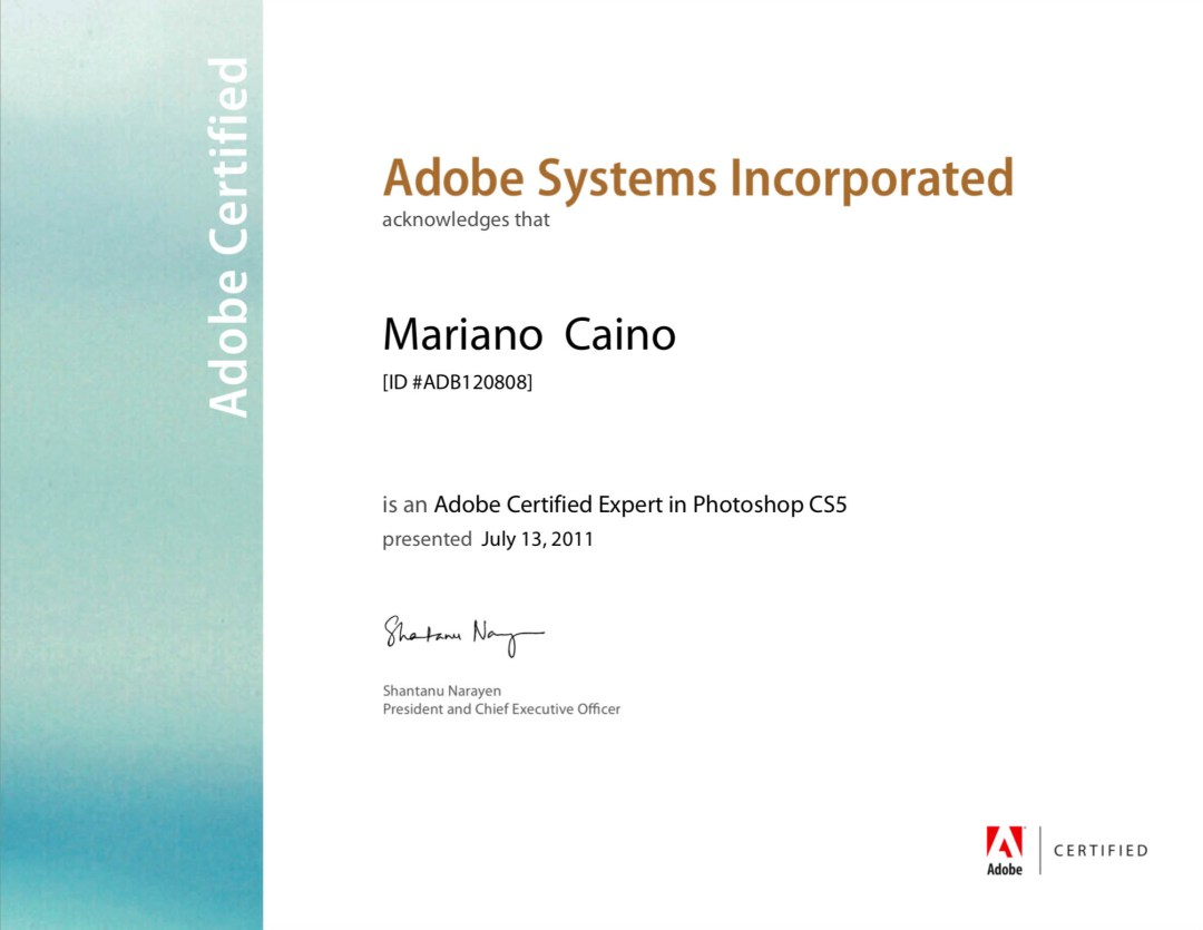 Scan of Adobe Certified Expert in Photoshop CS5